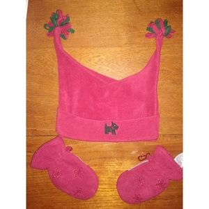 Gymboree Holiday Red Fleece Scottie Hat Mittens 3T